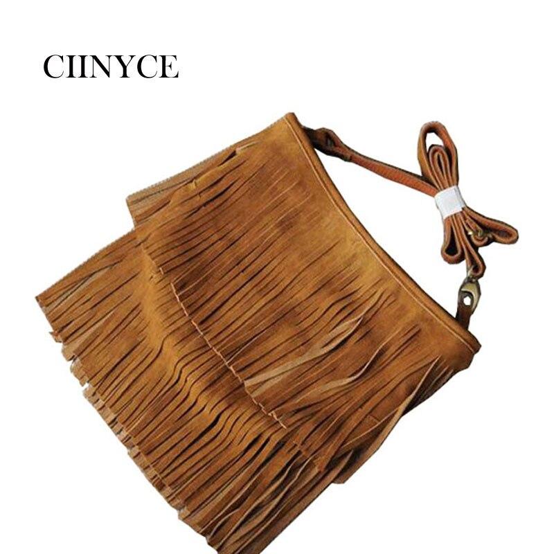 Vintage Women Real Fringe Suede Handbag Big Tassel Adjustable Shoulder Female Cross-body Messenger Bags Fashion Casual Tote