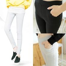 Women Fashion Casual Elastic Slim Fit Capris Stripe Leggings Trousers Pencil Pants