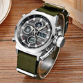 Unique 2016 Vogue Men's Analog Digital LCD Quartz Dual Time Outdoor Sport Millary Watches Army Green Nilon Strap Reloje Hombre