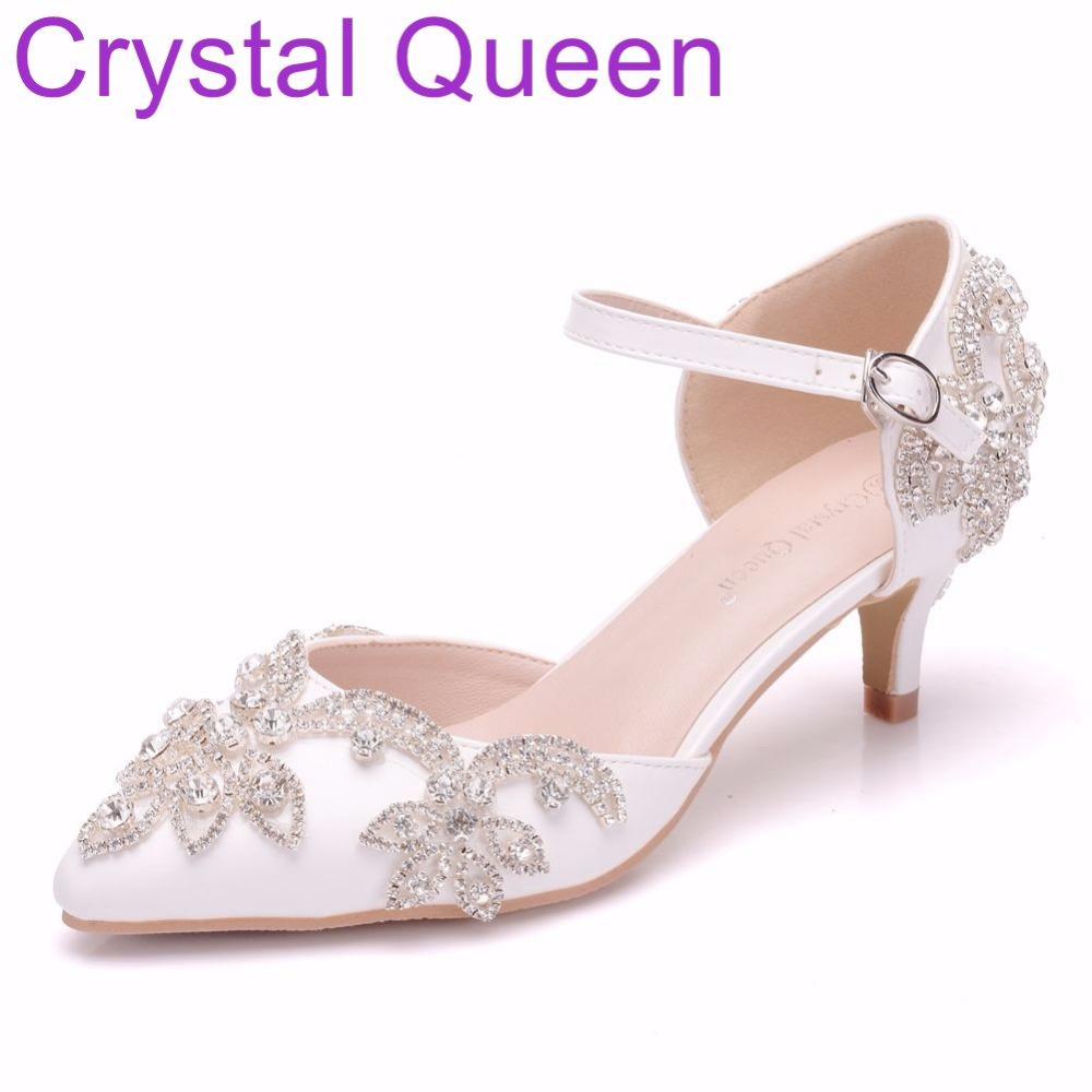Crystal Queen 5cm Mary Jane Shoes Thin Heels Pointed Toe Small Heel Sandals Rhinestone Wedding Shoes