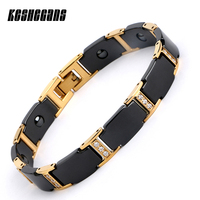 Luxury Black Gold Bio Elements Energy Ceramic Bracelet Bangle Shining Crystal For Women Chain Link Healing Energy Magnetic Men