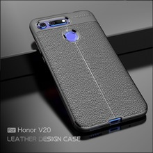 For Huawei Honor View 20 Case Carbon Fiber TPU Silicone leather Soft Full Back C