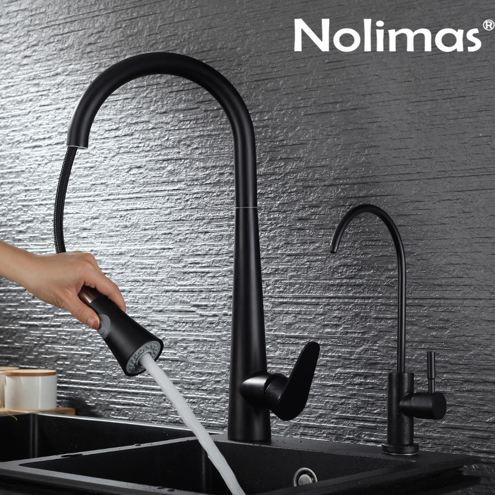 Kitchen Faucet SUS 304 stainless steel Pull Out Faucets Black Paint Spool Mixer Water Tap With Hot And Cold Double Control цена