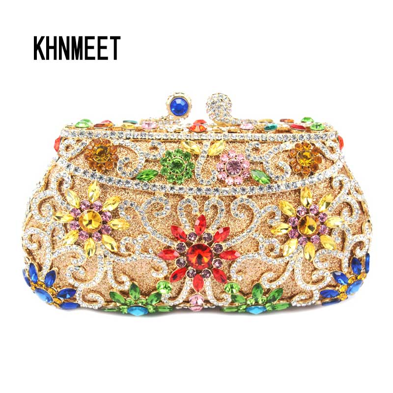 Rose Flower Crystal Evening Bag Nuptial Bridal Wedding Clutch Purse Party Pochette Female Floral wallet banquet pochette Bag 293