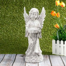 Hot Sale Garden Birds Feeders Statue Cute Cupid Angel Ornaments Decoration Crafts Desktop Ornament For Home Garden Gift Figurine(China)