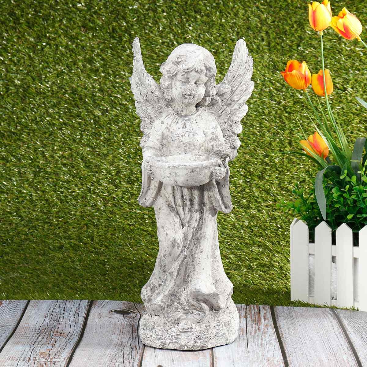 Offre spéciale jardin oiseaux mangeoires Statue mignon cupidon ange ornements décoration artisanat bureau ornement pour maison jardin cadeau Figurine