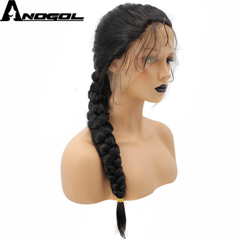 Anogol High Temperature Fiber Brazilian Hair Peruvian Full Black Long Straight Braided Synthetic Lace Front Wig