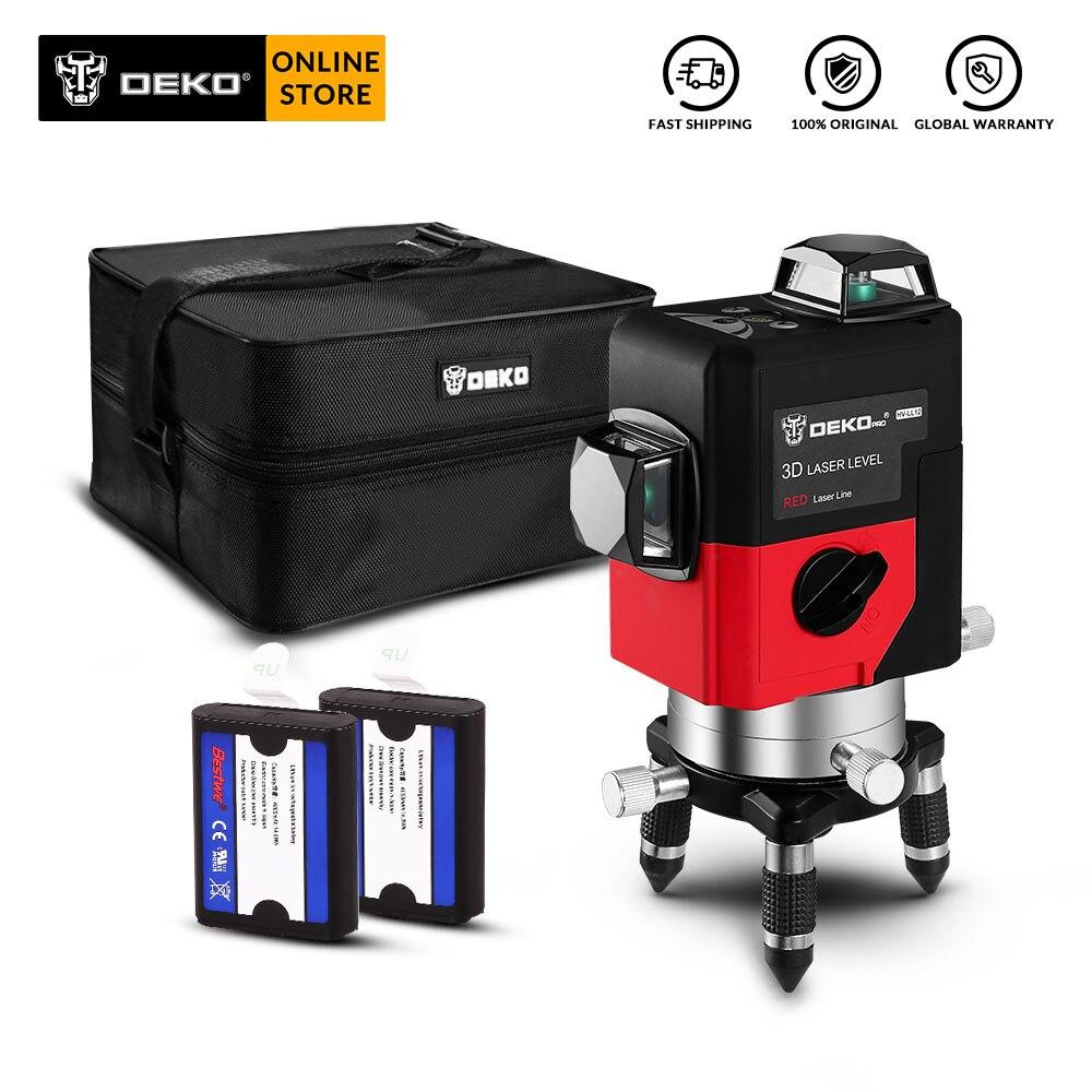 DEKO LL12 Série 12 Linhas 3D Nível de Auto-Nivelamento A Laser de 360 Graus Horizontal e Vertical Cruz Poderoso Vermelho/Verde linha de Feixe de Laser