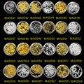 100 pcs/bottle Prego de Cobre Encantos Banhado A Ouro Do Parafuso Prisioneiro de Prata Decorações Da Arte Do Prego 3D Unhas Jóias Acessórios Pontos MA0541-MA0564