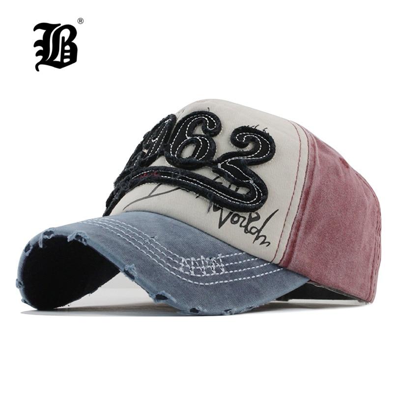 [FLB] 2018 Washed Denim   Baseball     cap   Snapback Hats Autumn Summer Hat for Men Women   Caps   Casquette Letter Wholesale Gorras F110
