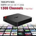 Receptor IPTV IPTV Caja Android TV Box Cielo europeo y 1300 + Cielo Francés Turco Holanda Canales Mejor Que MXV Android TV caja