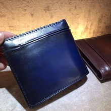 TERSE_Genuine leather men short wallet solid business bifold male wallet card holeder handmade leather wallet for men 3 colors