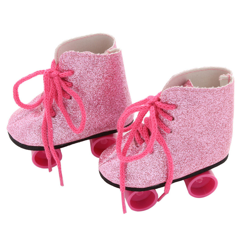 Baby Born Cool Fashion Cute Doll Shoes Glitter Doll Roller Skates For 18 Inch Our Generation American Girl Doll Clothes Toy glitter doll shoes star dress shoe for 18 inch our generation american girl doll