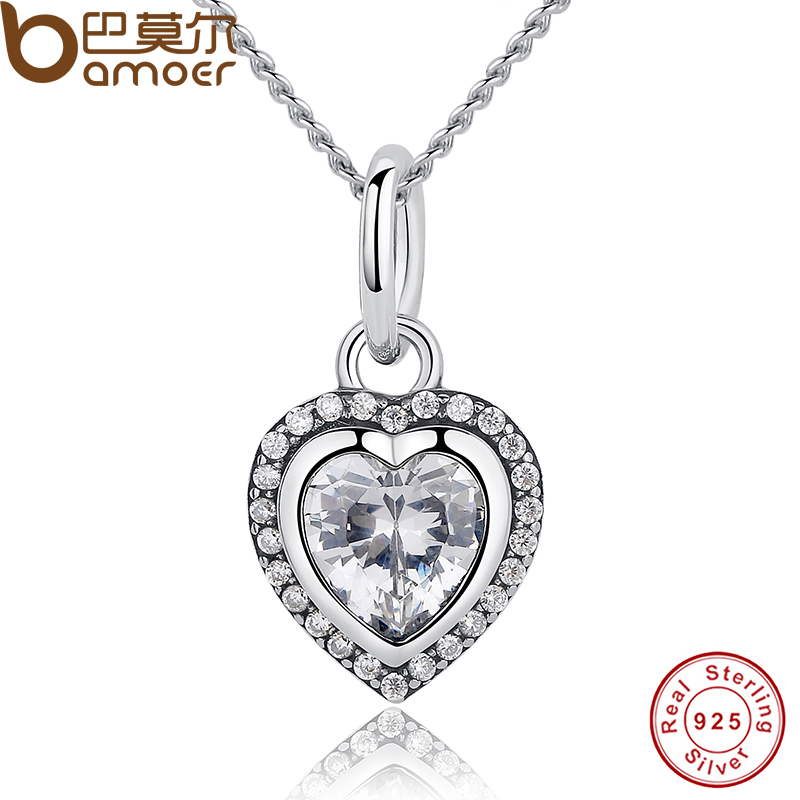 9137f5c9a BAMOER جديد وصول الفاخرة 925 فضة دلاية قلب الحب قلادة للنساء الزفاف الجميلة  مجوهرات PAS260