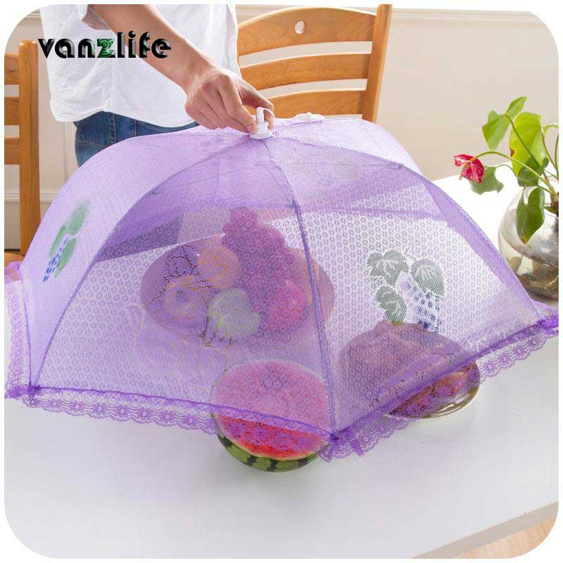 vanzlife large upscale home lace folded round food cover anti-dust cover fly proof food hood meal table covers