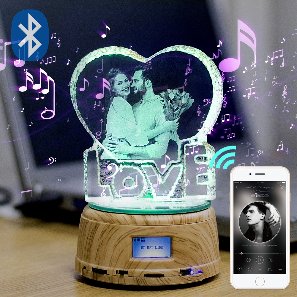Custom Crystal Photo Shop LogoText RGB LED Night Light Photo MP4 Music Player Jewelry Rotating Display Stand Couple Wedding Gift