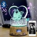 Tienda de fotos de cristal personalizado logoText RGB LED luz de noche foto MP4 reproductor de música joyería giratorio soporte de exhibición pareja regalo de boda
