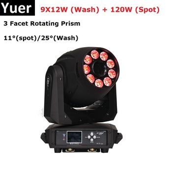 Najnowszy 9X12 W RGBWA + UV 6IN1 LED światła sceniczne 120 W wysokiej mocy ruchome głowy mycia oświetlenie imprezowe DMX512 LED światła DJ-skie DMX światła Disco tanie i dobre opinie yuer Efekt oświetlenia scenicznego Oświetlenie sceniczne DMX 245W P397 90-240 V Domowa rozrywka Spot Wash Moving Head Lights