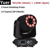 Newest 9X12W RGBWA+UV 6IN1 LED Stage Lights 120W High Power Moving Head Wash Party DMX512 Dj DMX Disco