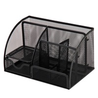 Black Metal Mesh Multi Functional Home Office Desk Supplies Stationery Pen Storage Organizer Holder Stand