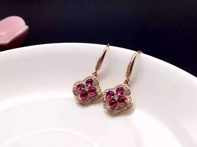 natural red garnet stone drop earrings 925 silver Natural gemstone drop earring women personality drop Earrings for wedding