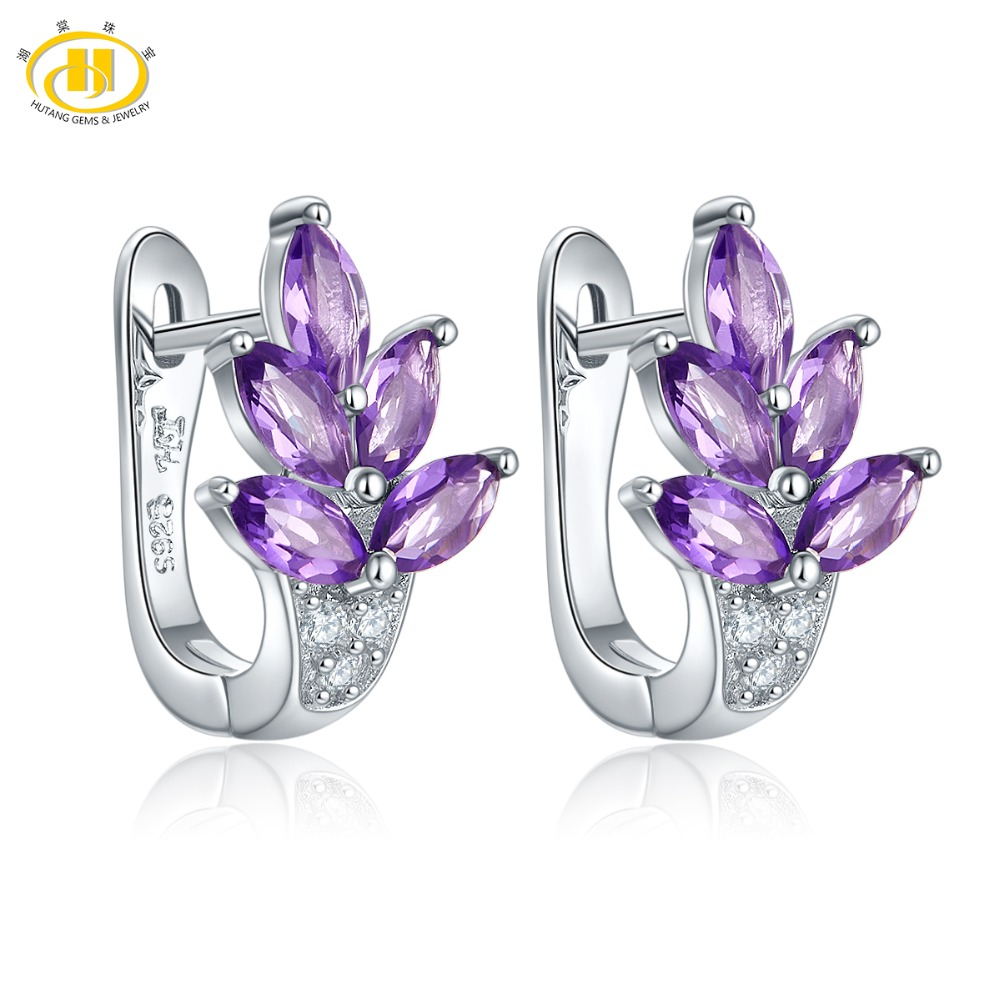 Hutang Amethyst Clip Earrings Natural Gemstone Silver Solid 925 Sterling Fine Fashion Stone Jewelry For Women Girl Best Gift