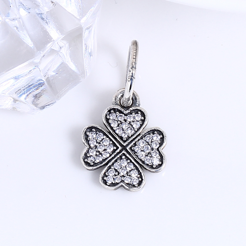 100% 925 Sterling Silver Fit Original Pandora Bracelet Sparkling lucky clover pendant charmS DIY Charm Beads for Jewelry Making