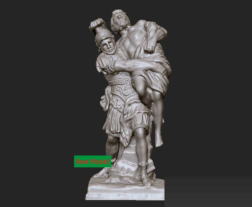 New model 3D model for cnc or 3D printers in STL file format  Aeneas and Anchises cnc panno face 1 in stl file format 3d model relief for