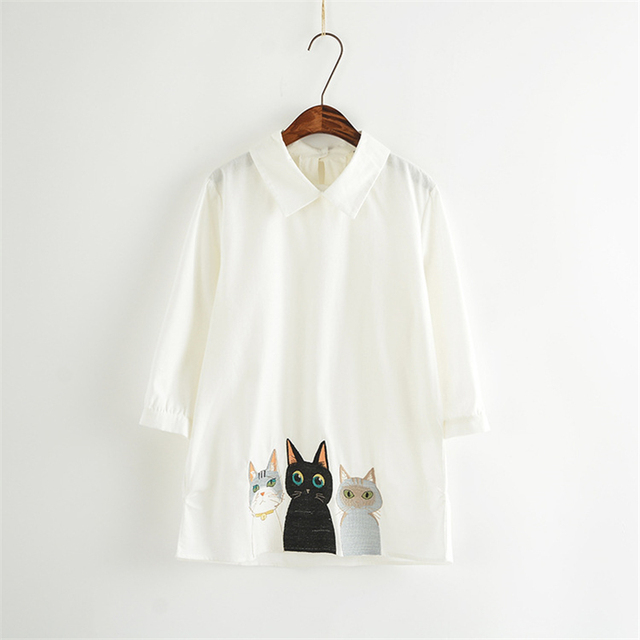 White Summer Female  Collar Shirts Cartoon Cute Lovely Cats Embroidery Woman Fashion Casual  Shirt A890