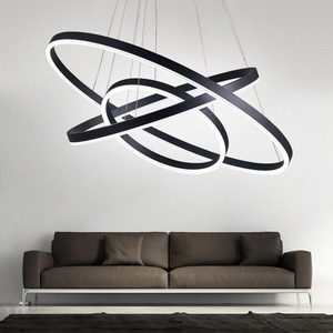 Image 5 - مصباح إضاءة حديث أسود أبيض اللون لغرفة المعيشة وغرفة الطعام 3/2/1 حلقات دائرية بإضاءة ليد مصباح سقف تركيبات