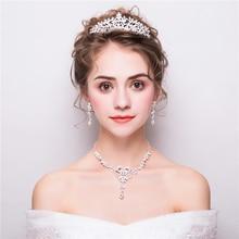 Fashion Flower Design Rhinestone Jewelry Sets Princess Tiara Crown Wedding Necklace Earrings Women Bijoux Party Parure Handmade