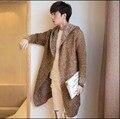M-3XL Otoño y el invierno Nueva Marea chaqueta rompevientos hombres Delgada larga espesar trench coat casual capa juventud cardigan de Punto abrigos