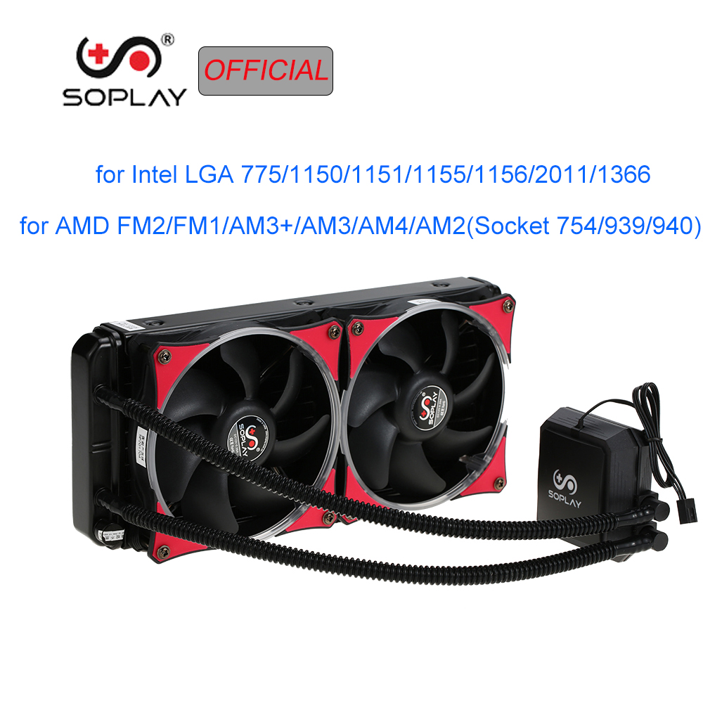 SOPLAY Water Cooler 120mm Fan Liquid Freezer System CPU Cooler Water Cooling LED Light RGB Fan Dual Adjustable PWM Fan
