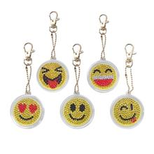 5pcs/Set DIY key buckle Full Drill Diamond Painting smiles Cartoon Emotion Keychain Key Chain Ring bag decor 2019