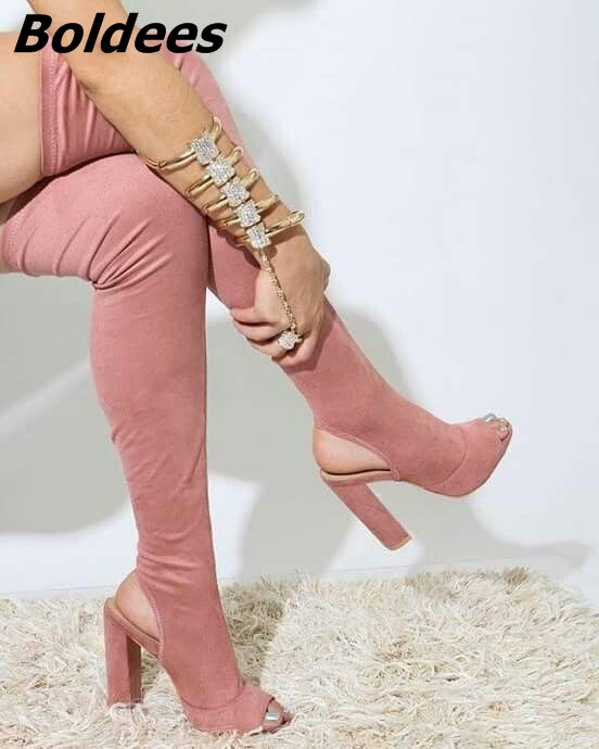 Stylish Slingback Block Heels Thigh High Sandal Booties Simply Plain Pink Open Toe Chunky Heel Lace Up Boots FashionSummerSandal туфли melissa ultragirl slingback