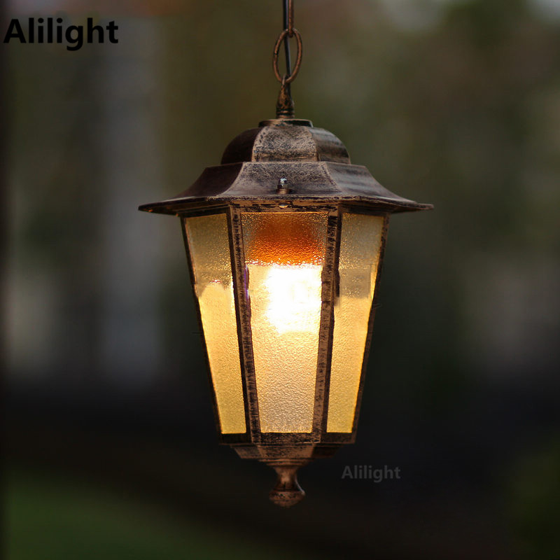 Europe Retro Outdoor Lighting Waterproof 220v 1w E27 Chain Hanging Led Lights Garden Lamps