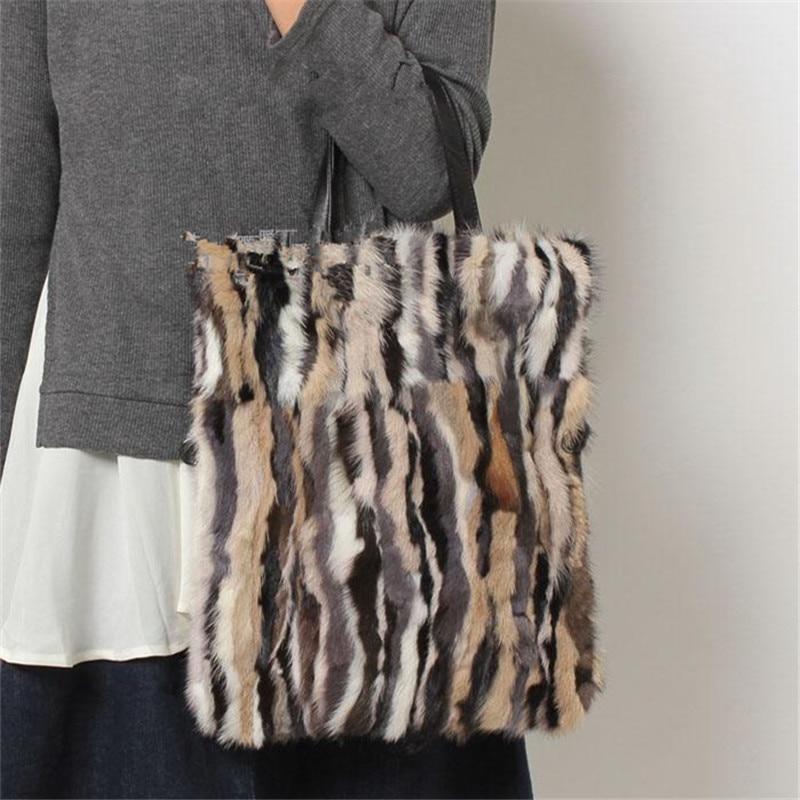 все цены на New Arrival Women Genuine leather Mink fur Shoulder Messenger Bags Female Real Fur Handbag Ladies party Travel Crossbody Bag