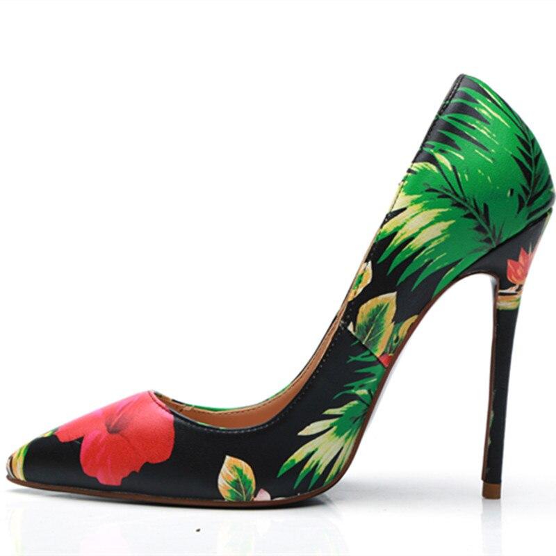 Pompes 43 2018 Taille 35 Multi Aiguilles Tenue Sexy Imprimé Bout Pointu Fête En Talons Chaussures Multicolore Fleur Cuir Femme Véritable De wXx4IHp4qT
