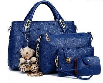 4 in 1 Composite Bag female lolita style zipper leather cute bear pendant designer brand handbags for women bolsas de couro 40 torebki 4 w 1