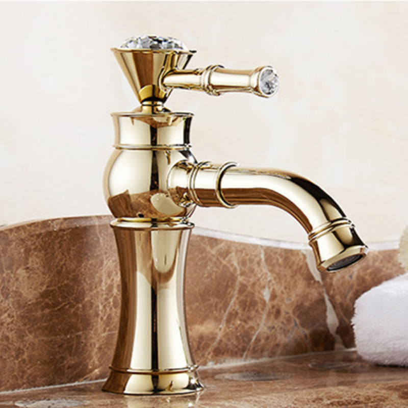 Gold Classical Bathroom Faucets Solid Brass Hot And Cold Water Faucet Polished Outfall  Rotate Faucets Deck Mounted Faucet