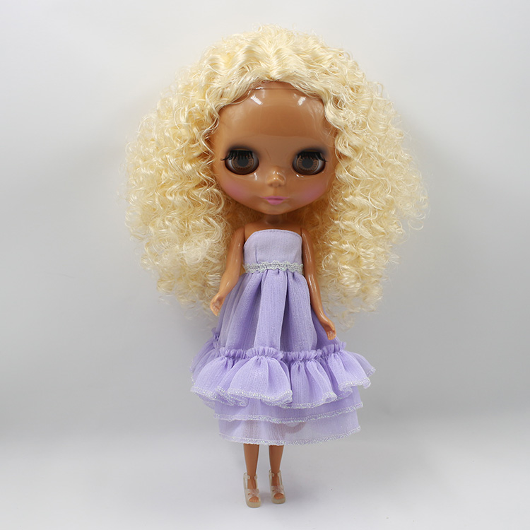 ФОТО Bonecos Blyth doll diy Blonde curls black muscle doll suitable for DIY doll toys baby dolls for girl gifts