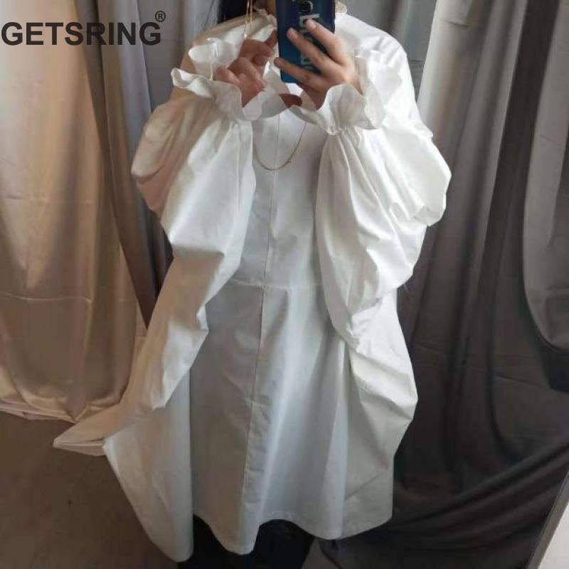 Longues white Bouffantes khaki Robe À Col Longue Volants Printemps Manches Lâche Femelle 2019 Robes Surdimensionné Getsring Femmes Black Blanc qUp1RYRng