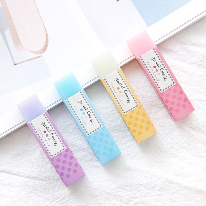 1PC 4colour Random Japan Kokuyo Light Color Cookies Translucent Candy Eraser Student Drawing Rubber School Supplies