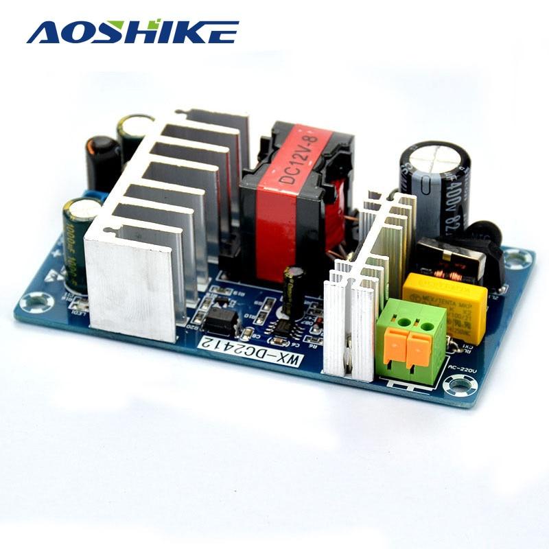 AOSHIKE AC 85-265V To DC 12V 8A AC/DC 50/60Hz Switching Power Supply Module Board meanwell 12v 350w ul certificated nes series switching power supply 85 264v ac to 12v dc