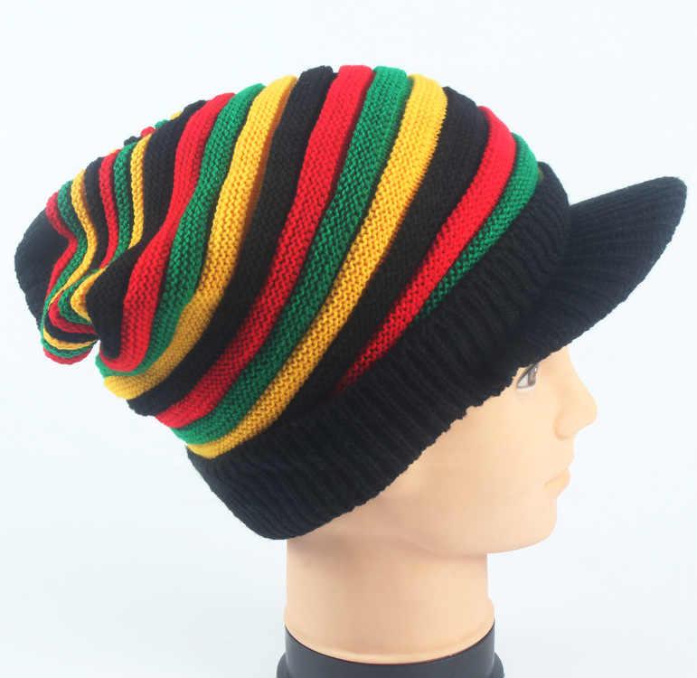 9deba4517efa01 ... Multi-colored Bob Marley Jamaica Rasta Beanie Hat Warm Cap Winter
