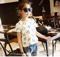 2-7y, 2016 New Summer Girls Cartoon Shirt Baby Shirt Kids Cotton T-shirt Children Basic fashion short shirt