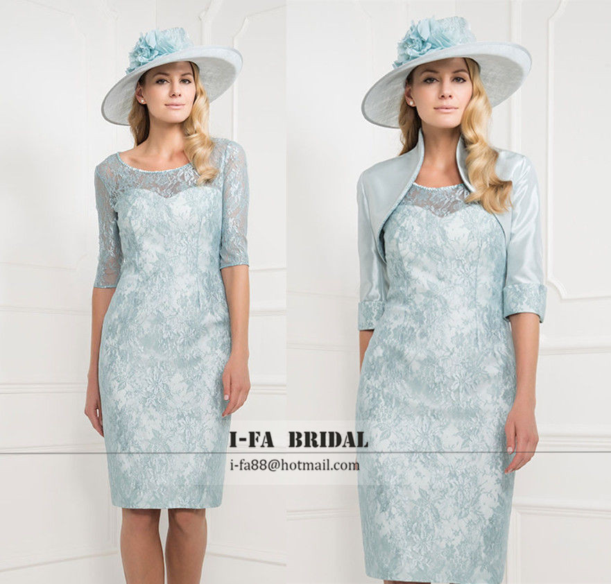 Gorgeous Pale Blue Knee Length Mother Of The Bride Lace