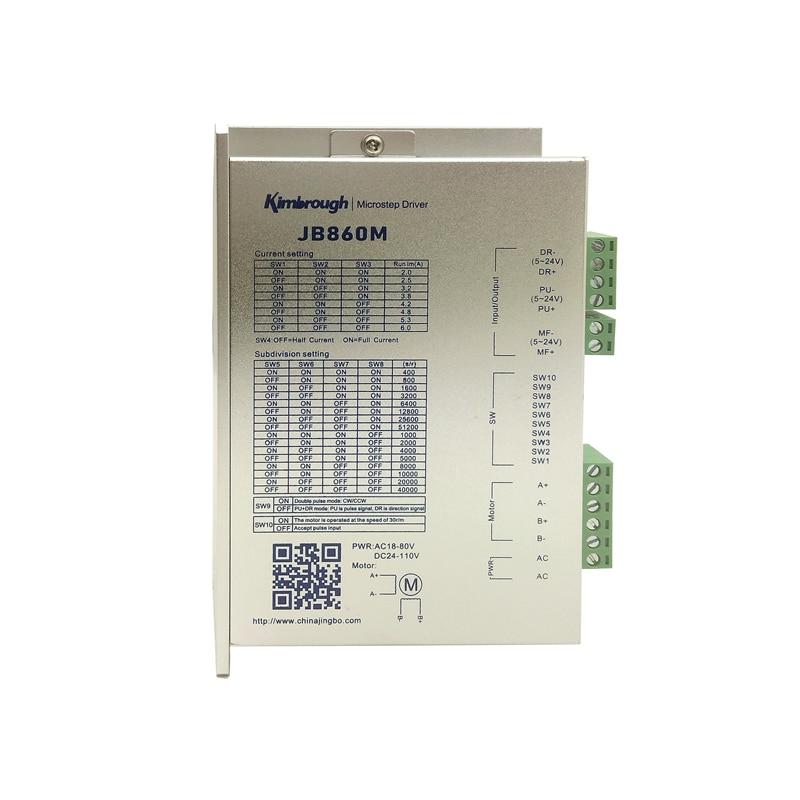 2phase Stepper Motor Driver JB860M AC18-80V/DC24-110V 2.0-6.0A 2-256Microstep for CNC Router Mill CNC Stepper Controller2phase Stepper Motor Driver JB860M AC18-80V/DC24-110V 2.0-6.0A 2-256Microstep for CNC Router Mill CNC Stepper Controller