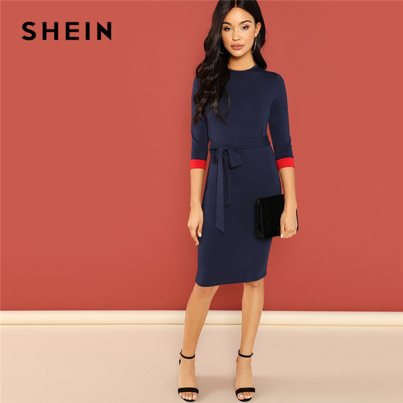 SHEIN Navy Office Lady Colorblock Belted 3/4 Sleeve Pencil Dress 2018 Autumn Round Neck Elegant Modern Lady Women Dresses