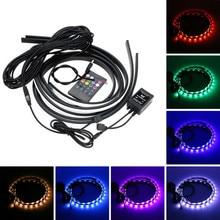 4PCS RGB LED Strip Under Car Tube Underglow Underbody System Neon Light Kit 12V Auto Accessories Waterproof LED Tubes